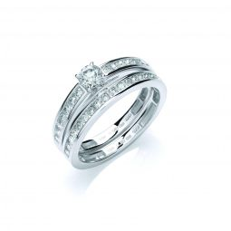 18ct White Gold  0.75ct Diamond Bridal Set Rings