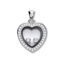 Silver Floating Cz Heart Pendant