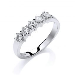 18ct White Gold 0.50cts 5 Stone Diamond Eternity Ring
