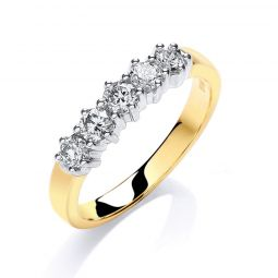 18ct Yellow Gold 0.50cts 5 Stone Diamond Ring