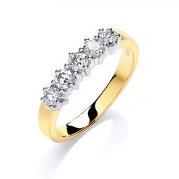 9ct Yellow Gold 0.50cts 5 Stone Diamond Ring