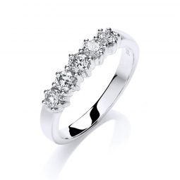 9ct White Gold 0.50cts 5 Stone Diamond Ring