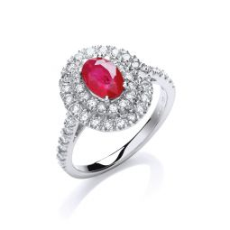18ct White Gold, Diamond and Oval Ruby Ring