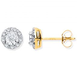 9ct Yellow Gold 0.13cts Diamond Stud Earrings