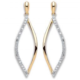 9cts Yellow Gold 0.15cts Diamond Drop Earrings