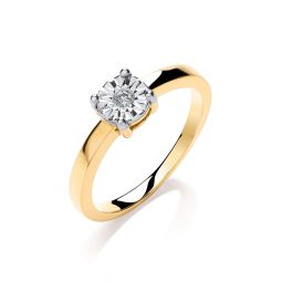9ct Yellow Gold 0.05ct Diamond Solitaire Ring
