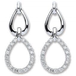 9ct White Gold 0.25cts Diamond Drop Earrings