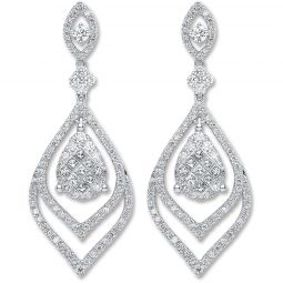 18ct White Gold And 2.00cts Diamond Drop Earrings