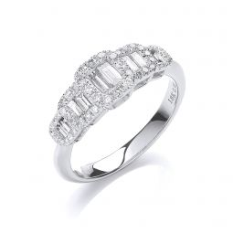 18ct White Gold 0.72ct Diamond Dress Ring  G-VS