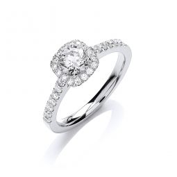 18ct White Gold 0.80ct Diamond Certificated Engagement Ring