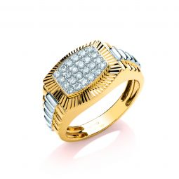 9ct Yellow and White Gold 0.50ct Diamond Gents Ring