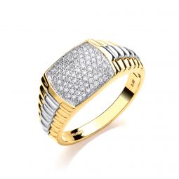 9ct Yellow Gold 0.50ct Rolex Style Gents Diamond Ring
