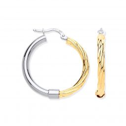 Silver Gold Plated Medium Tube & Twist Hoop Earrings