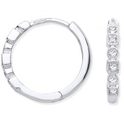 9ct White Gold Round 0.10cts Diamond Hoops