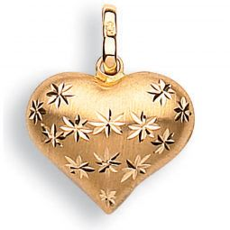 9ct Yellow Gold Faceted Star Heart Pendant