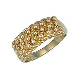 9ct Yellow Gold Woven Back 3 Row Keeper Ring 8.5mm