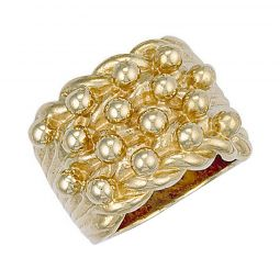 9ct Yellow Gold Woven Back 5 Row Keeper Ring 22mm