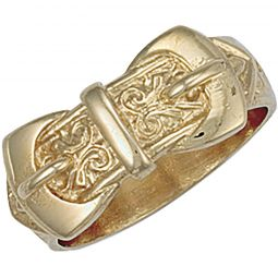 9ct Yellow Gold Double Buckle Ring