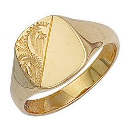 9ct Yellow Gold Cushion Engraved Signet Ring 11 x 13mm