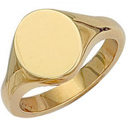 9ct Gold Oval Plain Signet Ring 13.1 x 14mm