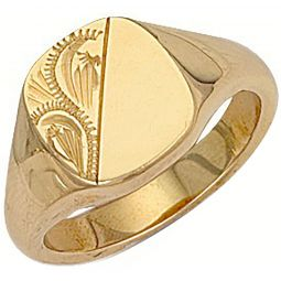 9ct Yellow Gold Cushion Engraved Signet Ring 12 x 12mm