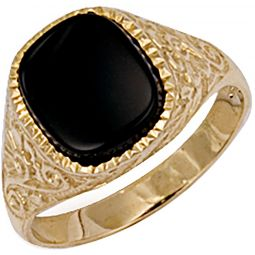 9ct Yellow Gold Patterned Side Ring