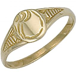 9ct Yellow Gold Baby Engraved Oval Signet Ring