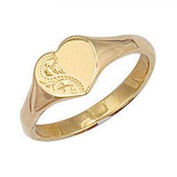 9ct Yellow Gold Heart Engraved Maiden Signet Ring