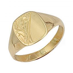 9ct Yellow Gold Cushion Engraved Maiden Signet Ring