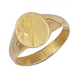 9ct Yellow Gold Oval Engraved Maiden Signet Ring