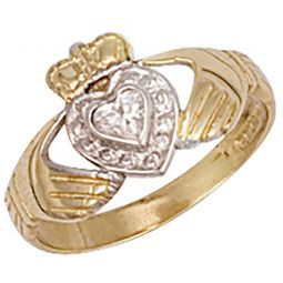 9ct Yellow Gold Cz Claddagh Ring