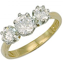 9ct Yellow Gold Cz 3 Stone Cz Ring