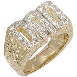 9ct Yellow Gold Cz Barked Sides Dad Ring