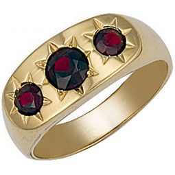9ct Yellow Gold Gents 3 Stone Garnet Ring