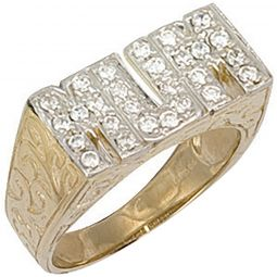 9ct Yellow Gold Cz Patterned Sides Mum Ring