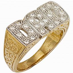 9ct Yellow Gold CZ Patterned Sides Dad Ring