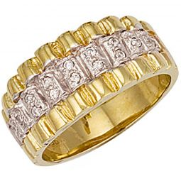9ct Yellow Gold Cz Rolex Style Ring