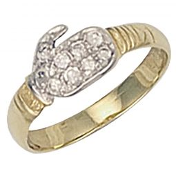 9ct Yellow Gold Cz Baby Boxing Glove Ring