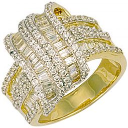9ct Yellow Gold Fancy Cz Crossover Ring