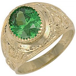 9ct Yellow Gold Green Cz College Ring