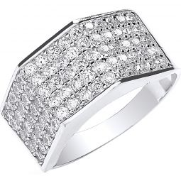 9ct White Gold Gents Five Row Cz Ring