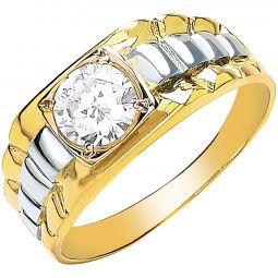 9ct Yellow Gold Gents Square Top Rolex Cz Ring