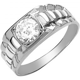 9ct White Gold Gents Square Top Rolex Inspired Cz Ring