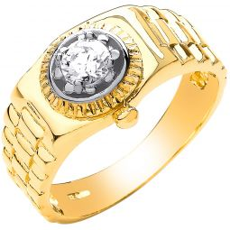 9ct Yellow Gold Gents Rolex Cz Ring
