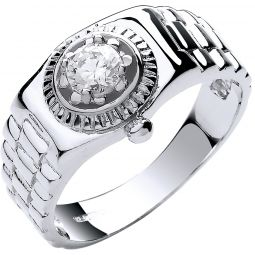 9ct White Gold Gents Rolex Inspired Cz Ring