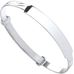 Silver Baby Expandable Id Bangle