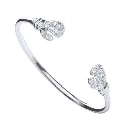 Silver Baby Cz Boxing Glove Bangle