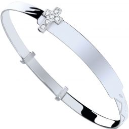 Silver Baby Id With Cz Cross Expandable Bangle