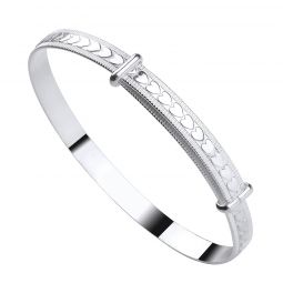 Silver Expandable Baby Bangle With Embossed Hearts