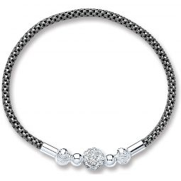 Silver Ruthenium Mesh With Crystal Ball Bracelet